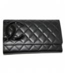 chanel コピー財布商品通販A46654 カンボンライン 三つ折りロングウオレット 黒×黒/ピンク 新品