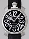 ガガミラノ腕時計コピーマニュアル48mm 5010.4 ブラック皮 ブラック/シルバーアラビア