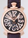 安い直販ガガミラノ コピー時計 メンズ マニュアル48mm 手巻き 5011.7 グレー皮 ホワイトアラビア