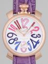 ガガ・ミラノ スーパーコピーブランド 代引き通販サイト マニュアル48mm 手巻き 5011.9 パープル皮 シルバー