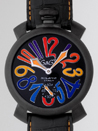 ガガミラノ コピー代引き n級国内マニュアル48mm 手巻き 5012.3 ブラック皮 オレンジステッチ