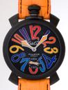 激安 おすすめ ガガミラノ 腕時計 コピー  マニュアル48mm 手巻き 5012.3 オレンジ皮 ブラックマット