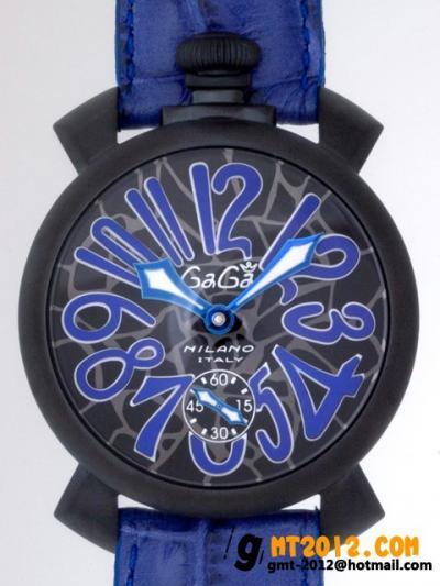 ガガ・ミラノ  コピーブランド 代引き 通販後払いマニュアル48mm 手巻き 5012 MOSAICO 2 ブルー皮 ブラックモザイク