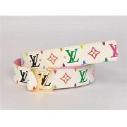 男性女性 ユニセックス ベルト 白い N4001 ルイ·ヴィトン Louis Vuitton 専用牛革生地