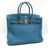 新品エルメス  バーキン35ハンドバッグ()ブルージーン(金具シルバー)トリヨンクレマンス2104100860392
