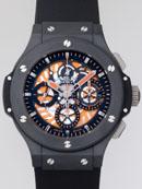 ウブロ HUBLOT アエロバン オールブラック オレンジ 310.CI.1190.RX.ABO10 ブラックラバー 世界限定500本 ブラック/オレンジスケルトン時計 コピー