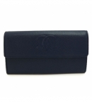シャネル偽物 長財布 二つ折りフラップ  ココマーク キャビアスキン/レザー ネイビー A50070