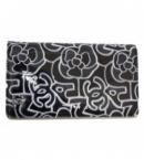 財布 コピー シャネルA50543 パテントカーフ カメリアCCグラフィック ロングウオレット 黒×グレー新品