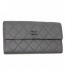 偽物財布シャネル A68655 ブラックCCヴェルヴェットカーフスキン マトラッセキルト フラップロングウオレット 黒 2011-12FALL-WINTER 新品