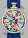 ガガミラノ コピー腕時計 マニュアル48mm 手巻き 5010 ブルー皮マルチカラーモザイク