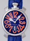ガガミラノ 腕時計 コピー 安全通販届く マニュアル48mm 手巻き 5010.8 ブルー皮 ブルー/オレンジアラビア
