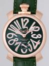 ガガミラノ コピー時計 メンズ  代引き中国国内発送 マニュアル48mm 手巻き 5011.4 グリーン皮 ピンクゴールドアラビア