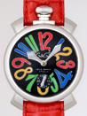 ガガミラノ 時計 コピー 安全代引き日本 マニュアル48mm 手巻き 5010.2 レッド皮 マルチカラーアラビア
