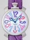 ガガミラノ時計 スーパーコピー通販口コミマニュアル48mm 手巻き 5010.9 パープル皮 マルチカラーアラビア