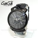 GaGa MILANO (ガガミラノ) 時計 腕時計 MANUALE マニュアーレ マヌアーレ 40mm ブラック レザー/ブラックシェル/ブラック 5022.01