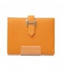 財布 コピー エルメス ベアンコンパクト オレンジ シェーブル  HER-020