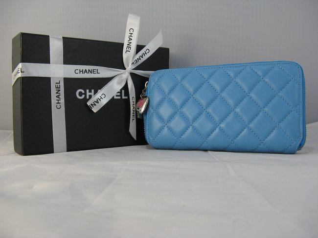 ブルー シャネル羊革 46579 CHANELシャネル 女性 中財布