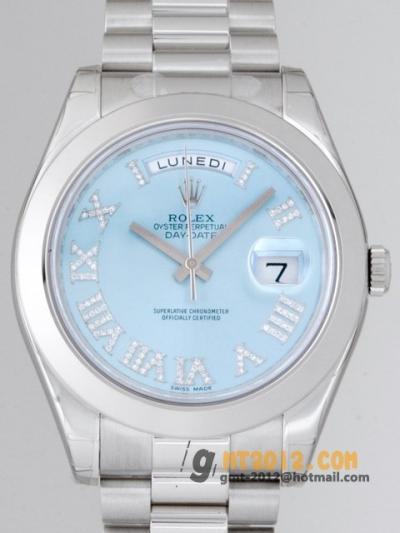 ロレックススーパーコピー デイデイトII 218206 CR VI アイスブルーダイヤローマ