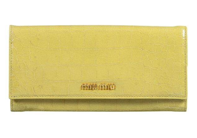 ミュウ ミュウ 2012年春夏新作型押しカーフスキン二つ折り 長財布 5M1109 ST.COCCO LUX