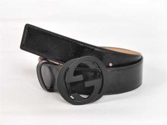 男性 ダブルGベルト GUCCIグッチ ブラック G2253 G Gucci防水素材
