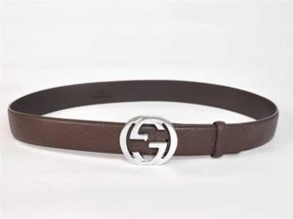 ブラウン Gucciフルレザー G2253 G GUCCIグッチ 男性 ダブルG ベルトコピー