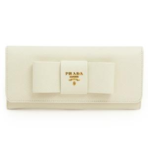 プラダ 長財布 PRADA 二つ折りフラップ ロゴ×リボンモチーフ 型押しレザー ホワイト 1M1132 SAF.FIOCCO BIANCO