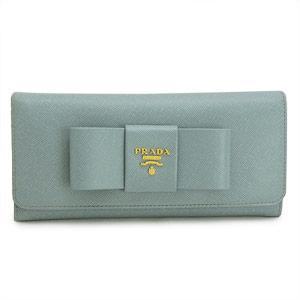 プラダ 長財布 PRADA プラダ 財布 二つ折り リボンモチーフ 型押しレザー ライトブルー 1M1132 SAFFIANO FIOCCO LAGO/ZTM
