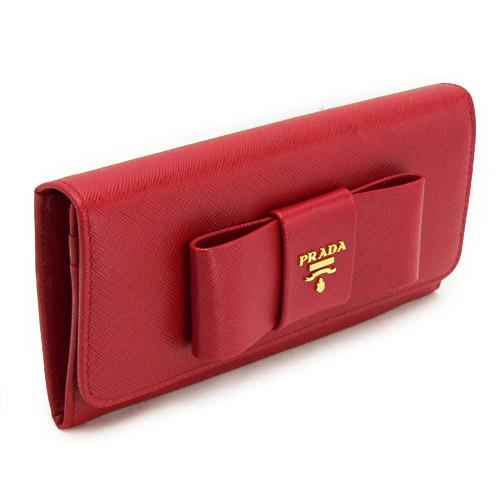 プラダ 長財布 財布 PRADA プラダ 二つ折り リボンモチーフ 型押しレザー フォーコレッド 1M1132 SAFFIANO FIOCCO FUOCO/ZTM F068Z