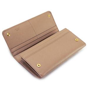 プラダ 長財布  プラダ 財布 二つ折り リボンモチーフ 型押しレザー ピンクベージュ 1M1132 SAFFIANO FIOCCO CAMMEO/ZTMF0770