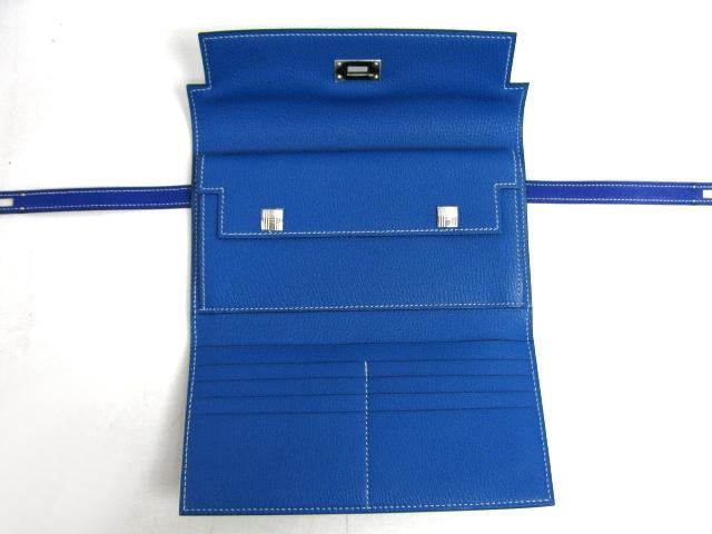 エルメス  ケリーウォレット長財布□P刻印(2012年製造)ブルーエレクトリック(金具シルバー)2104100847973
