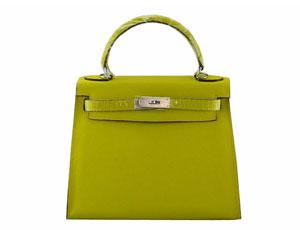 エルメス スーパーコピーブランドバッグ通販後払い ケリー28 ハンド、ショルダーバッグ 黄緑色×シルバー金具 2128-5