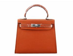 エルメス バッグ コピー ケリー28 ハンド、ショルダーバッグ オレンジ×シルバー金具 2128-1