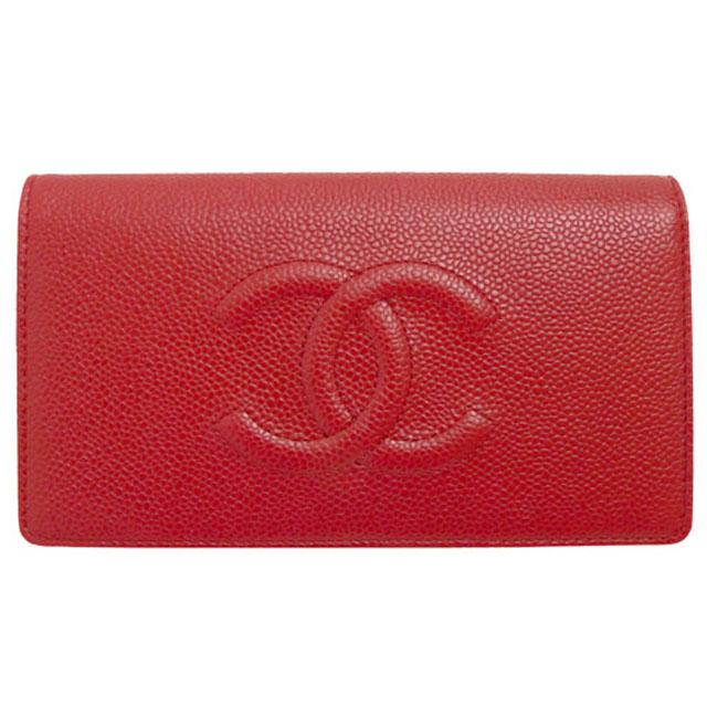 財布 コピー シャネル長財布 二つ折りフラップ ココマーク キャビアスキン/レザー レッド A48651