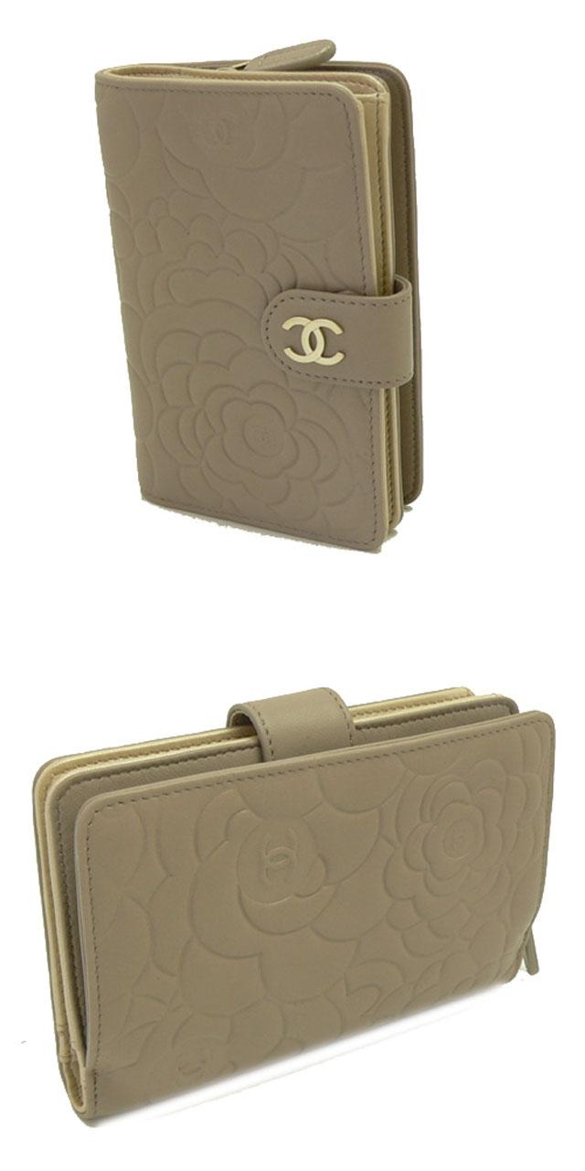 財布 コピー シャネル財布 レディース 二つ折り カメリア型押し レザー ココマーク グレイッシュベージュA50087