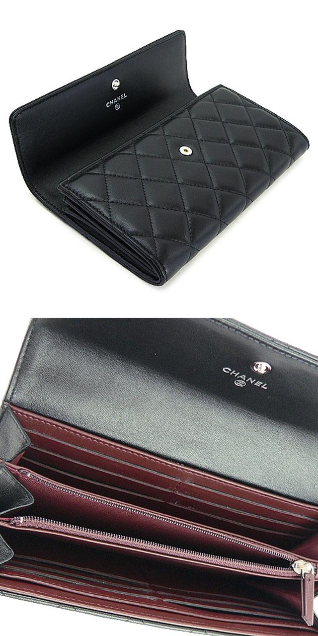 財布 コピー シャネル 財布 二つ折りフラップ 『2013年新作』 キルティング マトラッセ レザー ブラック A50096