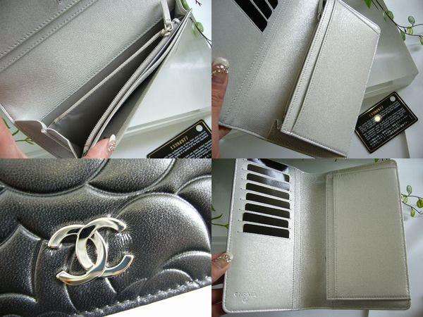 シャネル コピー 二つ折財布 カメリア黒A36544