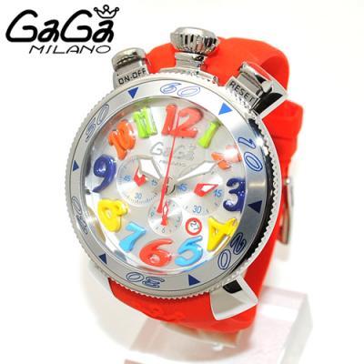 ガガミラノ 偽物腕時計通販後払い クロノ 48mm レッド ラバー/シルバー 60501 RD