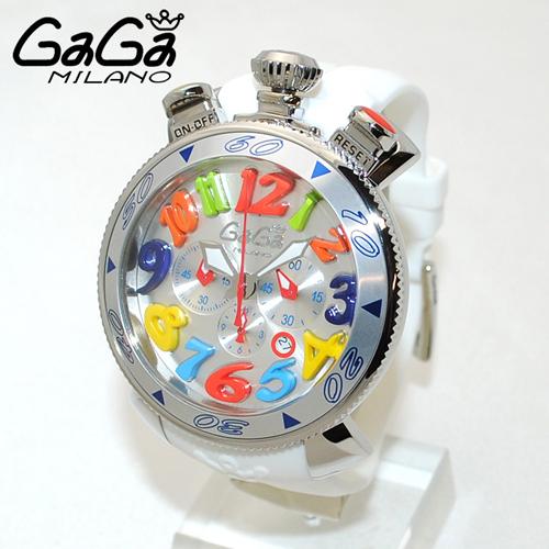 GaGa MILANO (ガガミラノ) クロノ 48mm ホワイト ラバー/シルバー 60501 WH