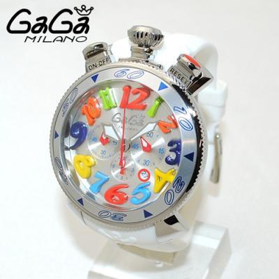 ガガミラノ スーパーコピー腕時計代引き対応安全 クロノ 48mm ホワイト ラバー/シルバー 60501 WH