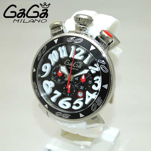 GaGa MILANO (ガガミラノ) クロノ 48mm ホワイト ラバー/シルバー 60508 WH