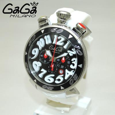 GaGa MILANO ガガミラノ クロノ 48mm ホワイト ラバー/シルバー 60508 WH レプリカ時計代引き口コミ
