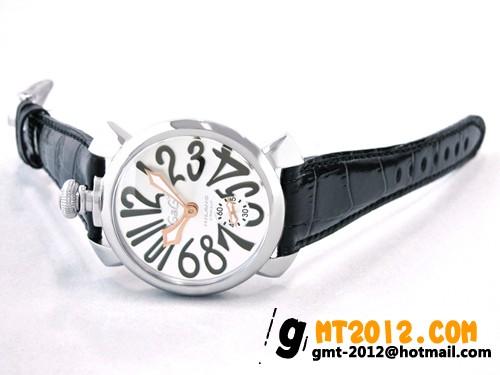 ガガ・ミラノ マニュアル48mm 手巻き 5010.7 ブラック皮 ブラックアラビア