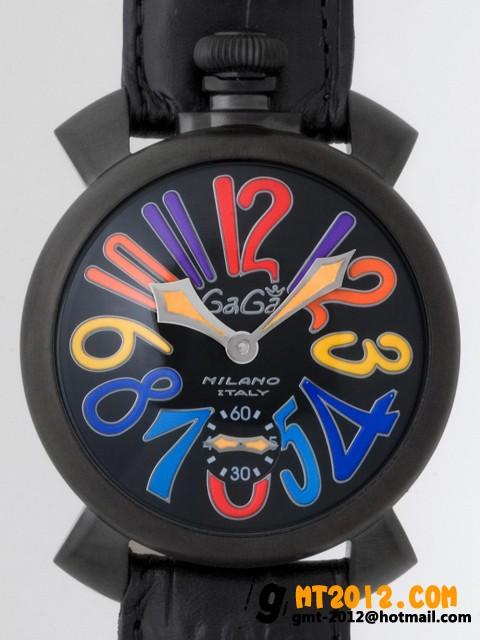 ガガ・ミラノ マニュアル48mm 手巻き 5012.3 ブラック皮 ブラックステッチ