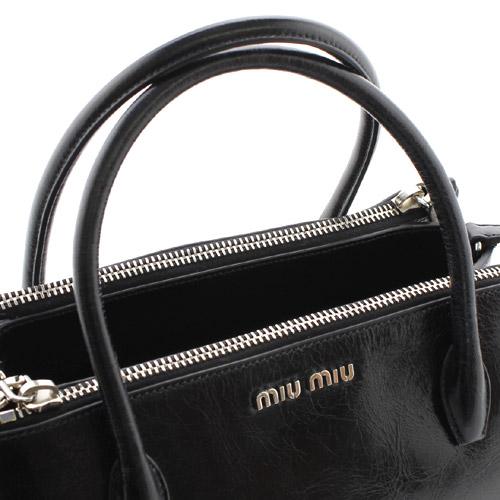 ミュウミュウ miumiu VITELLO SHINE カーフレザー ハンドバッグ ブラック RN0941US0002
