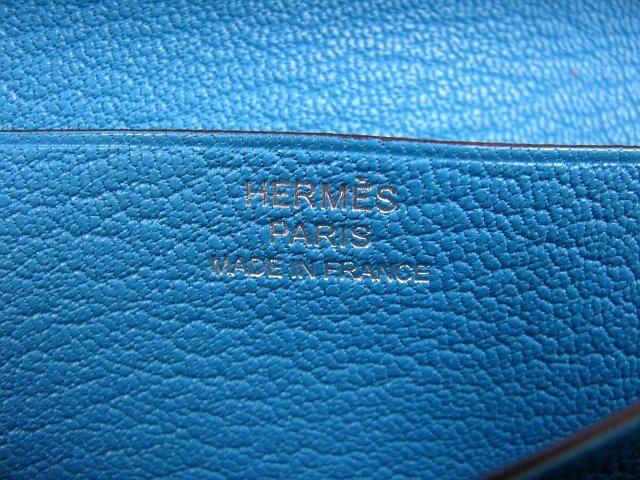 エルメス  ベアン二つ折長財布シェーブルブルーアズティック(金具シルバー) 21041008065125