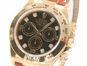 Ref.116518G rolex コピーデイトナ YG金無垢 コスモグラフ 8Pダイヤ クロコレザー ブラウン/ブラック 腕時計コピー