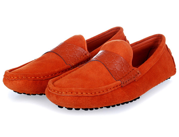 グッチ カジュアルシューズ メンズ 靴 グッチ・シマライン レザーXスエード オレンジ 512-3
