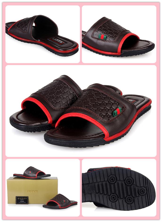 グッチ サンダル メンズ サンダル グッチ・シマライン レザー 靴 コーヒーXレッド 8205-2