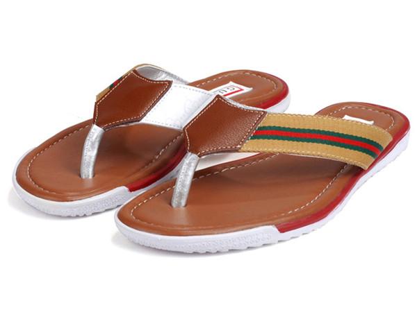グッチ ビーチサンダル メンズ サンダル リボンライン レザー 靴 カーキ 6042-3