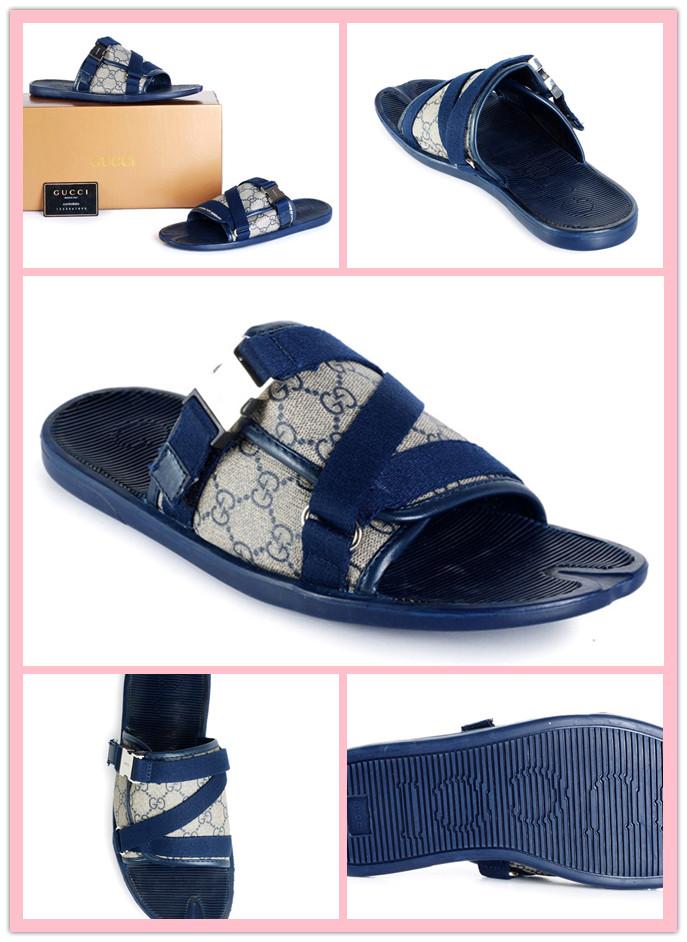 グッチ サンダル メンズ サンダル GG キャンバス 靴 ネイビーXベージュ 0168